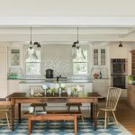 Pottery Barn Area Rugs with Traditional Kitchen and  Wood Dining Chairs  Wood Bench  Costa Smeralda Granite  New England Design  Custom Cabinetry