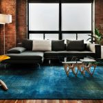 Ra Rugged Man with Industrial Living Room and  Coffee Table  Blue Rug  Windows     Indoor Plants  Sectional