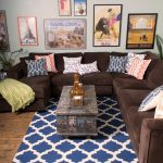 Ra Rugged Man with Transitional Family Room and  Colorful Accents  Bold  Colorful Art  Accent Pillows  Bright Colors