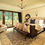 Ralph Lauren Rugs with Traditional Bedroom and  Upholstered Bed     Candelabra  Tray Ceiling  Balcony  Paisley