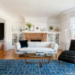 Ralph Lauren Rugs with Transitional Living Room and  White Couch     Brick Foreplace  Bay Window  Curved Bay Window  Heater