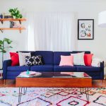 Rent a Rug Doctor with Eclectic Living Room and  Midcentury Modern House  Colorful  White Curtains     Modern  Blue Sofa