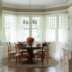 Round Bath Rugs with Traditional Dining Room and  Dining Table Centerpiece  Table Setting  Crown Molding  Wainscoting  Beadboard