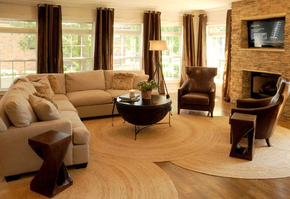 Round Braided Rugs With Contemporary Living Room And Brown