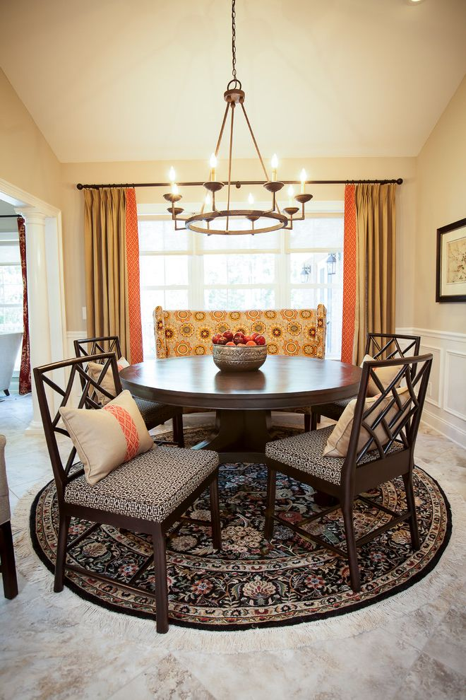 Round Rugs Cheap With Traditional Dining Room And Patterned Seat Cushions Round  Rug Floor Length Curtains Round Dining Table Gold Drapes