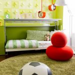 Round Shag Rug with Contemporary Kids and  Wall Decor     Green Walls  Striped Bedding  Soccer Ball  Loft Bed
