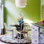 Round Shag Rug with Transitional Dining Room and  Round Rug  Wallpaper     Open  Drum Pendant  Green Wallpaper