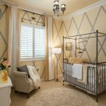 Round Shag Rug with Transitional Nursery and  Nursery  Striped Curtains  Chandelier  Yellow and Gray Walls  Light Yellow Walls