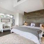 Rubber Backed Rugs with Contemporary Bedroom and  Neutral Tones  Metal Windows  Wood Paneling     Faux Fireplace  Built in Bed