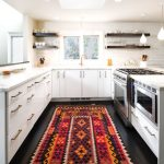 Rubber Backed Rugs with Contemporary Kitchen and  Open Shleving  Kitchen Rug  White Cabinets     Dark Wood Floors  Kitchen
