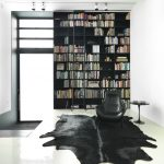 Rubber Backed Rugs with Contemporary Living Room and  Bookcase  Black and White  Ceiling Lighting  Kreon Lighting  Area Rug