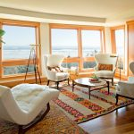 Rubber Backed Rugs with Contemporary Living Room and  Coast  Wingback  Beach Views  Cowhide  Living Room