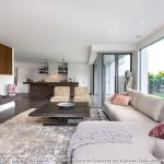 Rubber Backed Rugs with Contemporary Living Room and  Neutral  Dark Stained Wood  Indoor Outdoor  Textures  Open Plan