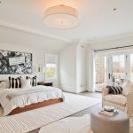 Rug Cleaning Nyc with Transitional Bedroom and  Slipcovered Chair  White Molding  Glass Door  White Animal Rug  White Wall