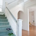 Rug Doctor Carpet Cleaner with Transitional Staircase and  Tread  Carved Spindles  White Banister  Striped Staircase  White Staircase