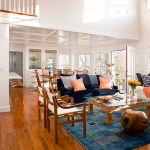 Rug Doctor Rentals with Beach Style Living Room and  Wood Stools     Bright  Blue Area Rug  Natural Light  Window Seat