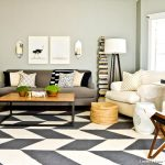 Rug Doctor Rentals with Contemporary Living Room and  Chevron Rug  Mixed Patterns  Wood Coffee Tabletop     Gray Sofa  Cream Throw Pillow