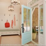 Rug Hooking Kits with Beach Style Entry and  Light Blue Door  Craftsman Cottage  Storage Bench  Lanterns  Entry Bench