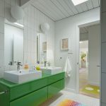 Rugged Ridge Floor Mats with Midcentury Bathroom and  Bright Colors  White Tile Wall     Skylight  Honeycomb Tile Floor  White Glo Ball Lights