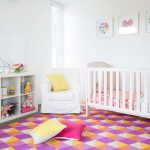Rugged Wearhouse Hours with Contemporary Nursery and  White Slipcover Chair     White Cube Storage Shelf  Toys  Framed Artwork  Butterfly Theme