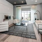 Rugs at Lowes with Contemporary Living Room and  Leather Sofa  Metal Fireplace Surround  White Couch  Light Hardwood Floors  Leather Chairs