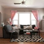 Rugs at Lowes with Craftsman Living Room and  Pink Curtains  Silver Curtain Rod  Tv Over Mantle  Built in Cabinet  Baseboard