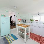 Rugs at Target with Eclectic Kitchen and  Retro  Blue Striped Rug  White Drawers  White Cabinets  Mint Green