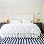 Rugs at Target with Transitional Bedroom and  Wainscoting  Gold Frames  Paneling  Upholstered Headboard  Striped Rug
