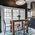Rugs for Cheap with Transitional Kitchen and  Geometric Rug  Painted Brick White  Breakfast Nook  White Painted Brick Wall  Wood and Metal Bar Stools