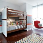 Rugs for Kids Rooms with Contemporary Kids and  Pops of Color  Built in Bunk Beds  Dark Wood Floor  Wool Polka Dot Rug     Gray and White Bed Sheets