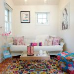 Rugs for Kids Rooms with Eclectic Living Room and  Gray Coffee Table  Black and White Wall Art  Bright Rug  Owl  Eclectic