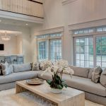 Rugs for Living Room with Transitional Living Room and  Wood Coffee Table  High Ceilings  White Area Rug  High Ceiling Living Room  Gray Sofa