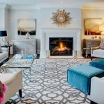 Rugs on Carpet with Contemporary Family Room and  Light Gray  Glass Coffee Table  Bolt Patterns  White     Silvered Dresser