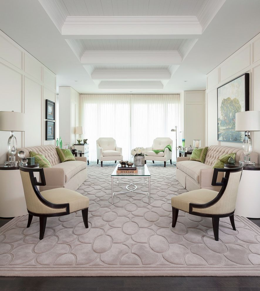 Rugs On Carpet With Transitional Living Room And Tufted Sofa White Curtains Oil Painting Tone Formal