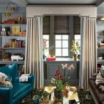 Shabby Chic Rugs with Eclectic Living Room and  Eclectic Family Rooms  Crown Molding  Beige Drapes  Coffered Ceiling  Grey Shelves