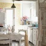 Shabby Chic Rugs with Shabby Chic Style Kitchen and  Eclectic  Vintage Wallpaper  Kitchen  White Dining Chairs  Tiles