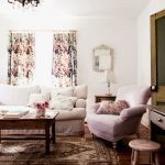 Shabby Chic Rugs with Shabby Chic Style Living Room and  Floral Curtains  Shabby Chic  Small Mirror  Arm Chair  White Couch