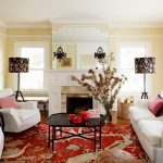 Shabby Chic Rugs with Traditional Living Room and  Red Rug  Black Candle Sconce  Tripod Lamp  Mantel  Log Basket