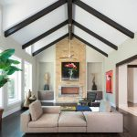 Shag Area Rugs with Contemporary Living Room and  Hill Country  White Wool Area Rug  Contemporary Design  Low Wood Coffee Table  Exposed Wood Beams