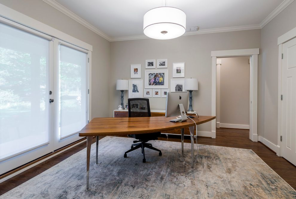 Shag Area Rugs With Transitional Home Office And Freestanding Desk White  Crown Molding Traditional Area Rug Rolling Shades Dark Hardwood Floors