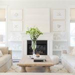Shag Rug 8x10 with Transitional Living Room and  White on White     Benjamin Moore Simply White  Gold Frames  Molding & Millwork  Custom Paintings