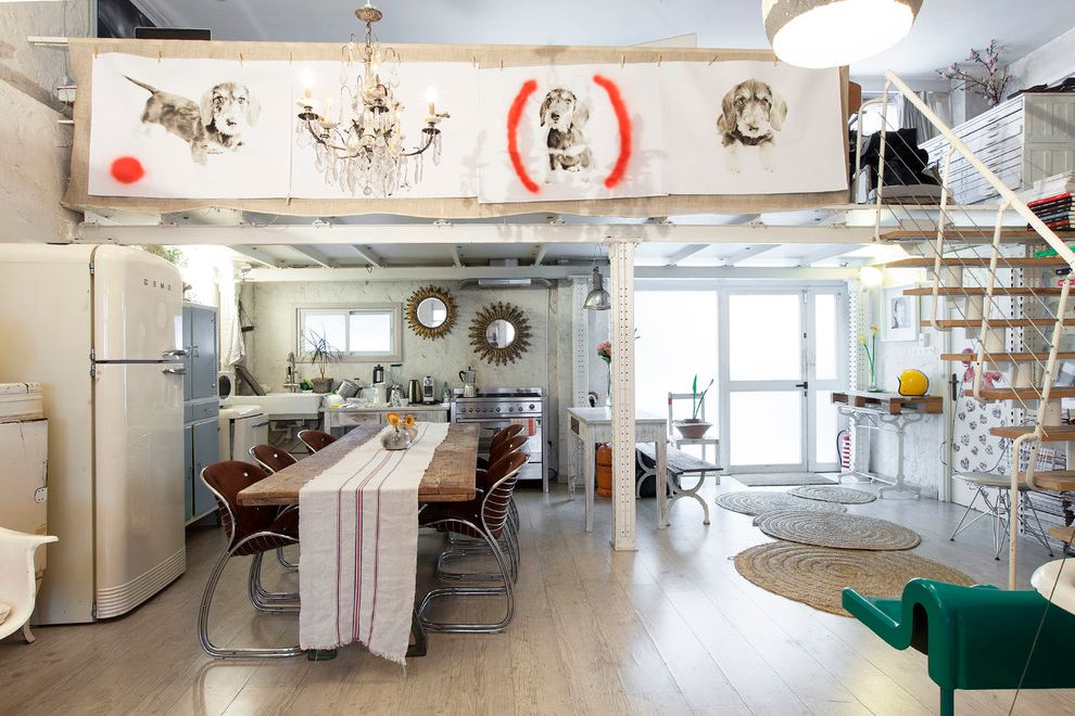 Small Round Rugs with Eclectic Dining Room and Wall Art ...