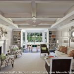 Square Area Rugs with Contemporary Living Room and  Pendant Light  Tray Ceiling  Fireplace  White Painted Wood  Silver Mirror
