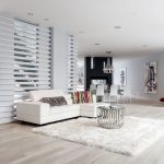 Square Area Rugs with Contemporary Living Room and  Round Metal Coffee Table  Natural Light  White Shag Rug     Room Divider Wall  Slatted Wall