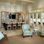 Square Area Rugs with Contemporary Living Room and  Wood Paneling     Pool House  Ceiling Treatment  Coffered Ceiling  Great Room