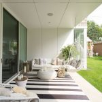 Square Area Rugs with Contemporary Patio and  Lawn  Outdoor Furniture  Glass Doors  Striped Rug  White Couch