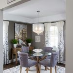 Square Area Rugs with Transitional Dining Room and  Purple Tufted Dining Chairs  White and Purple  Wood Console Table     Square Area Rug  Drum Shade Chandelier