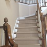 Stair Tread Rugs with Traditional Staircase and  Rugs for Stairs  Tan Stair Runner  Traditional Design  Elegant  Dark Wood Paneling
