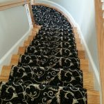 Stair Tread Rugs with Transitional Staircase and  Black Stair Runner  Traditional Rug  Light Wood Paneling  Black Stair Tread Rug  Tan Stair Runner