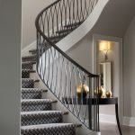 Stair Tread Rugs with Transitional Staircase and  Sleek Design  Console Table  Stair Design  Silver  Simple